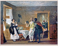 168 - 19TH. CENTURY OIL ON CANVAS OF AN INTERIOR SCENE
