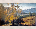 18 - Oil on Canvas - Western Scene w/ Yellow Tree - Signed S. Huertas