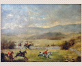 273 - OIL ON HARDBOARD - HUNT SCENE, UNSIGNED - CIRCA 1900