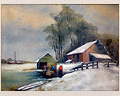 322 - WINTER SCENE OF FARM COUPLE WITH SAILBOAT IN BACKGROUND - UNSIGNED<