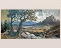 35 -  OIL ON CANVAS, WESTERN LANDSCAPE. SIGNED S. HUERTAS