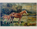 372 - OIL ON CANVAS OF MARE AND FOAL - SIGNED W. WENDELL TRICKETT, 1917