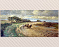 375 - OIL ON BOARD OF HORSES PULLING A HAY CART - SIGNED C.O.B. - CIRCA 1900