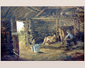 380 - OIL ON CANVAS - BARN SCENE BY BRITlSH ARTIST JAMES HERON - SECOND HALF OF 19TH CENT.