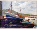 3 - OIL ON CANVAS - SHIPS IN HARBOR (BOATYARD). SIGNED, BRIAN HAYES