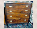 338. MAHOGANY CHEST WITH REEDED COLUMNS AND NICE TURNED LEGS