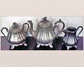 102 - 3 PIECE PEWTER SET BY REED & BARTON - COVERED SUGAR CREAMER, AND TEAPOT